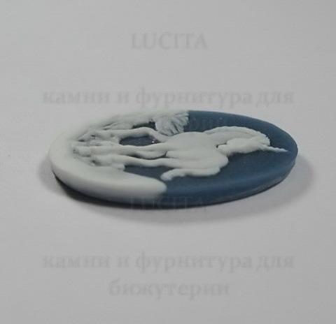 """Камея """"Единорог"""" белого цвета на синем фоне 25х18 мм ()"""