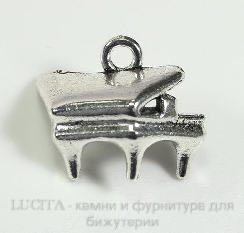 "Подвеска ""Рояль"" 17х14 мм (цвет - античное серебро)"