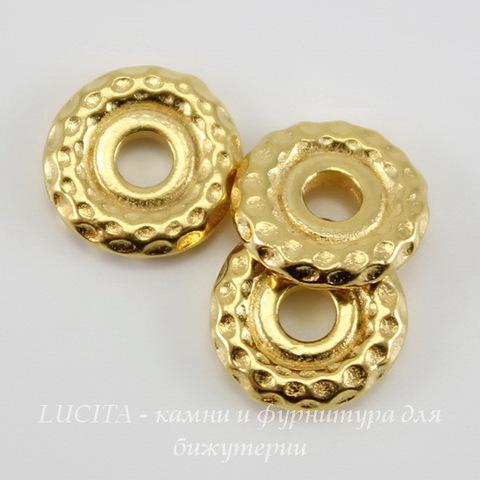 "Бусина - спейсер TierraCast ""Hammertone"" (цвет-золото) 9х2 мм"