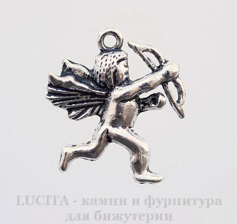 "Подвеска ""Купидон"" (цвет - античное серебро) 29х27 мм"