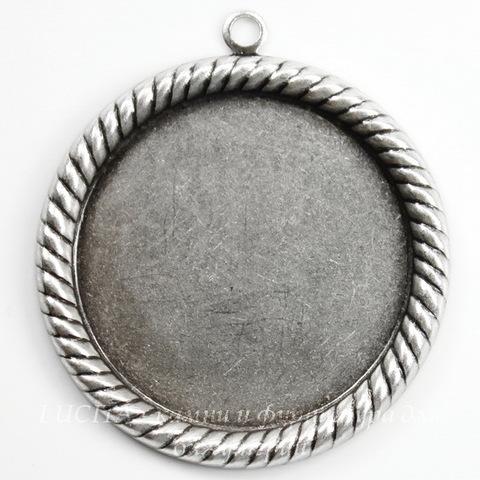 """Сеттинг - основа - подвеска """"Плетенка"""" для камеи или кабошона 25 мм (оксид серебра)"""