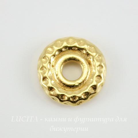 "Бусина - спейсер TierraCast ""Hammertone"" 9х2 мм (цвет-золото) ()"