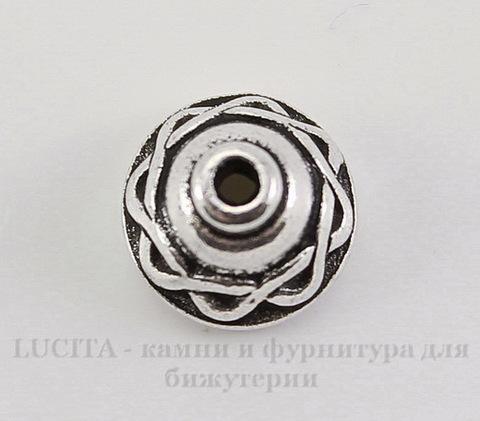 """Шапочка для бусины TierraCast """"Кельтская"""" (цвет-античное серебро) 8х5 мм"""
