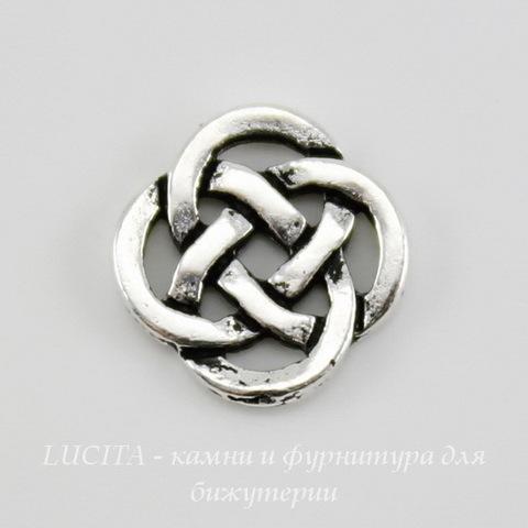 """Коннектор (2-2) TierraCast """"Кельтский узел"""" (цвет-античное серебро) 10х10 мм"""
