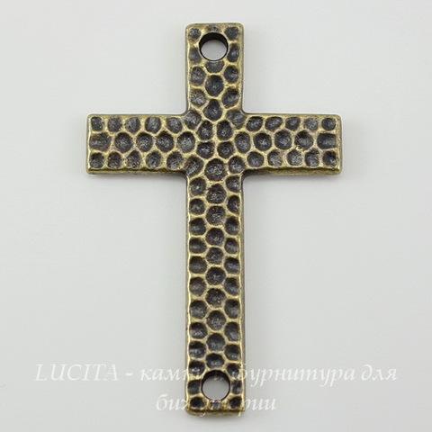 "Коннектор (1-1) TierraCast ""Крест"" (цвет-античная латунь) 40х26 мм"
