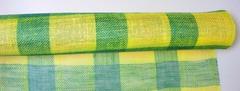 Ткань джутовая желто-зеленая с блестк 5м*50см