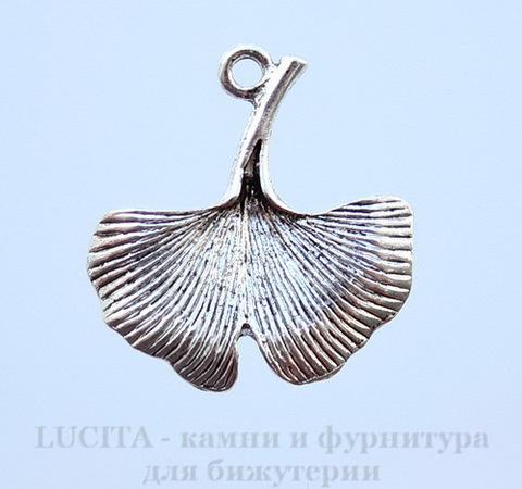 """Подвеска """"Лист Гинкго"""" 25х23 мм (цвет - античное серебро)"""