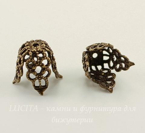 Винтажный декоративный элемент - шапочка 11,5х13,5 мм (оксид латуни)