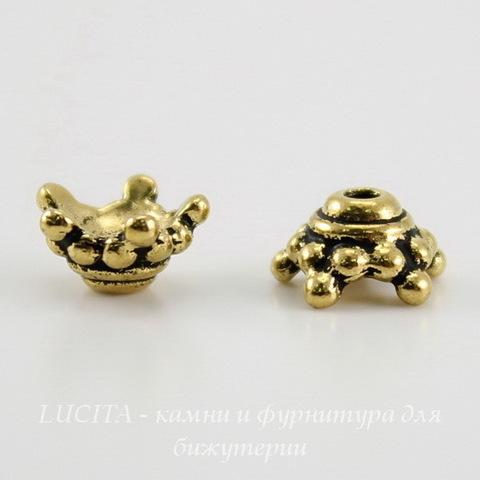 """Шапочка для бусины TierraCast """"Звездочка"""" (цвет-античное золото) 7х4 мм ()"""
