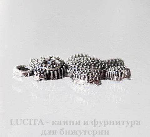 "Подвеска ""Медвежонок"" (цвет - античное серебро) 25х13 мм"