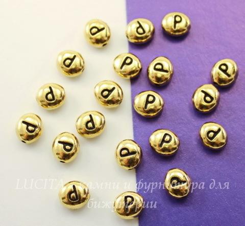 "Бусина овальная TierraCast ""Буква P"" 7х6х3 мм (цвет-античное золото)"