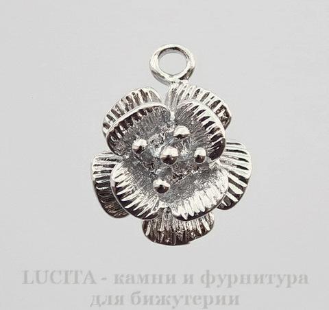 """Подвеска """"Цветок"""" (цвет - платина) 18х15 мм"""