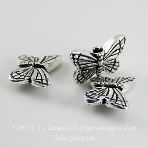 "Бусина TierraCast ""Бабочка"" 16х11 мм (цвет-античное серебро) ()"