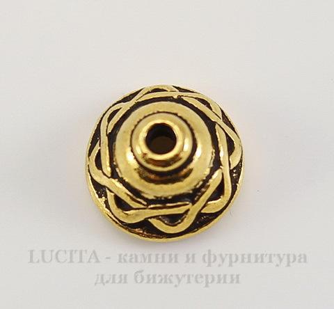 """Шапочка для бусины TierraCast """"Кельтская"""" (цвет-античное золото) 8х5 мм"""