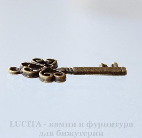 "Подвеска ""Ключик"" (цвет - античная бронза) 31х14 мм"