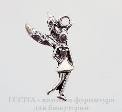 """Подвеска """"Фея"""" (цвет - античное серебро) 24х14 мм"""