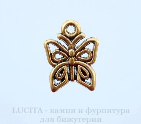 "Подвеска ""Бабочка"" (цвет - античное золото) 15х13 мм"
