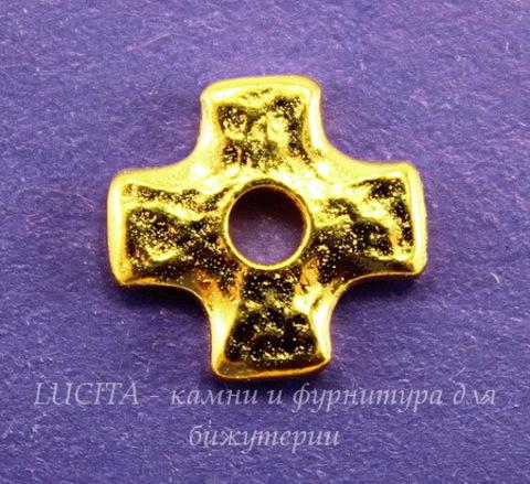 """Элемент под заклепку TierraCast """"Крест"""" (цвет-золото) 11х11 мм"""