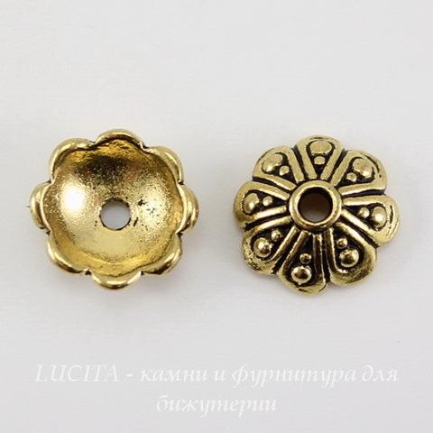 """Шапочка для бусины TierraCast """"Оазис"""" (цвет-античное золото) 8х3 мм ()"""