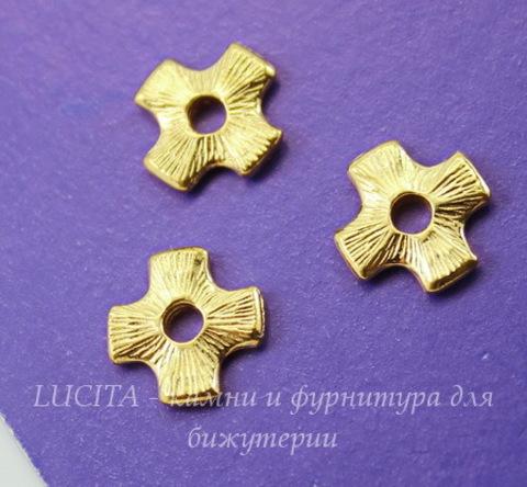 """Элемент под заклепку TierraCast """"Крест"""" 11х11 мм (цвет-золото)"""
