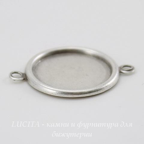 Сеттинг - основа - коннектор (1-1) для камеи или кабошона 15 мм (оксид серебра) ()
