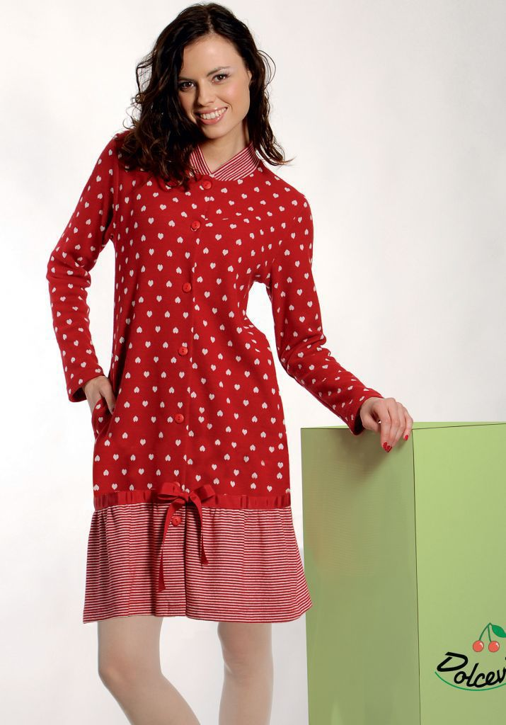 Теплый халат с сердечками DolceVita (Женские халаты)