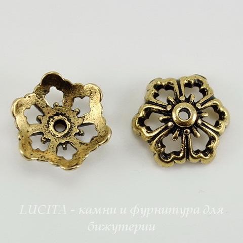 """Шапочка для бусины TierraCast """"Цветок"""" (цвет-античное золото) 12х5 мм ()"""