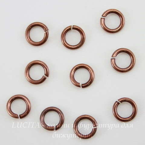 Винтажное колечко одинарное 5х0,9 мм (оксид меди), 10 шт