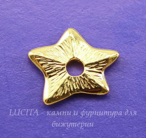 "Элемент под заклепку TierraCast ""Звезда"" 14х12 мм (цвет-золото)"