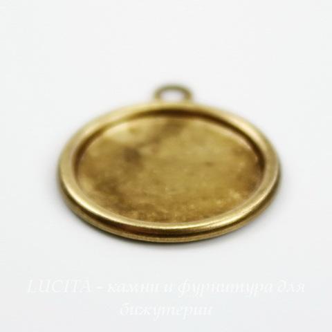 Сеттинг - основа - подвеска для камеи или кабошона 13 мм (оксид латуни) ()