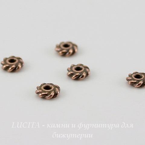 """Бусина - спейсер TierraCast """"Твист"""" 4х1,4 мм (цвет-античная медь), 5 штук ()"""