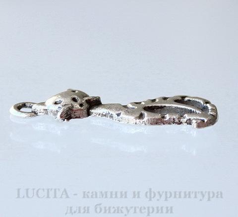 """Подвеска """"Полосатый кот"""" (цвет - античное серебро) 25х9 мм"""
