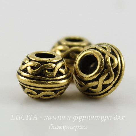"""Бусина - рондель TierraCast """"Кельтский узел"""" 9х7 мм (цвет-античное золото) ()"""