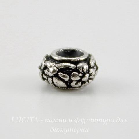 "Бусина - рондель TierraCast ""Цветочки"" 6х3,5 мм (цвет-античное серебро) ()"