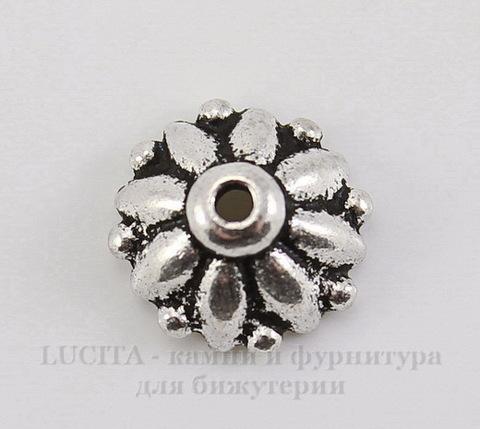 "Шапочка для бусины TierraCast ""Дхарма"" (цвет-античное серебро) 10х4,5 мм"