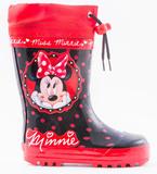 Резиновые сапоги Минни Маус (Minnie Mouse) на шнурках для девочек, цвет черный красный. Изображение 1 из 8.
