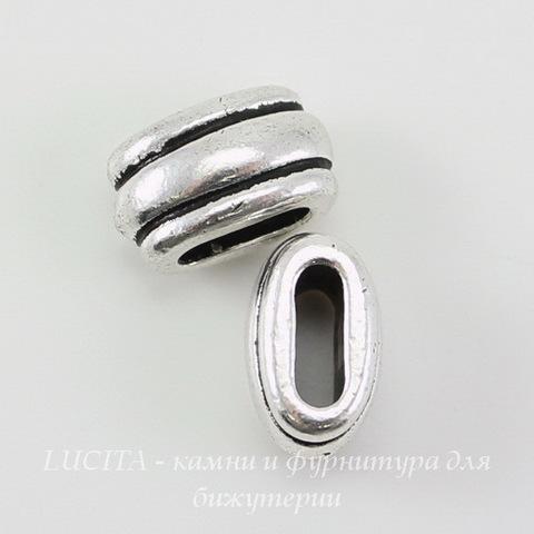"""Бусина для шнура 6х2 мм TierraCast """"Deco Barrel"""" (цвет-античное серебро) 11х6х6 мм"""