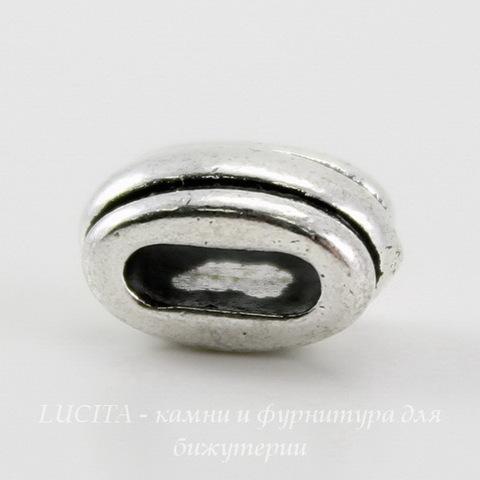 """Бусина для шнура 6х2 мм TierraCast """"Deco Barrel"""" 11х6х6 мм (цвет-античное серебро) ()"""