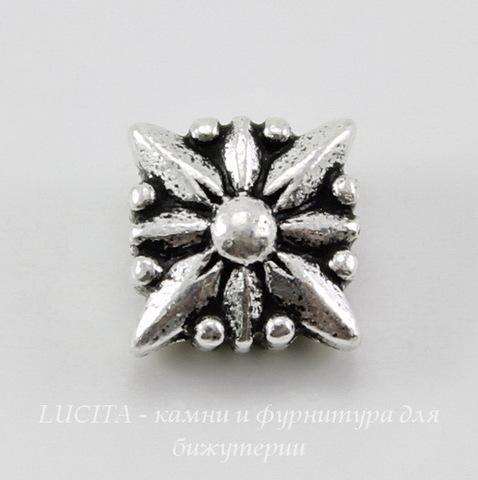 "Бусина квадратная TierraCast ""Звезда"" (цвет-античное серебро) 8х8х5 мм"