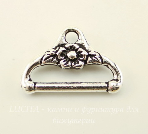 "Концевик для плоского шнура TierraCast ""Цветочный"" (цвет-античное серебро) 19х13 мм"