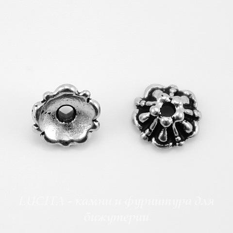 "Шапочка для бусины TierraCast ""Tiffani"" (цвет-античное серебро) 6х3 мм ()"