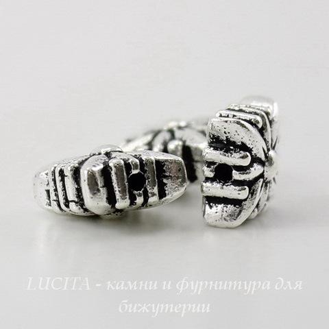 "Бусина квадратная TierraCast ""Звезда"" (цвет-античное серебро) 8х8х5 мм ()"