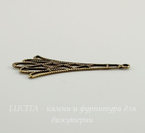 Винтажный декоративный элемент - подвеска филигранная 32х16 мм (оксид латуни)