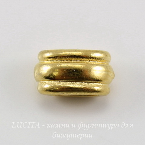 "Бусина для шнура 6х2 мм TierraCast ""Deco Barrel"" (цвет-золото) 11х6х6 мм"
