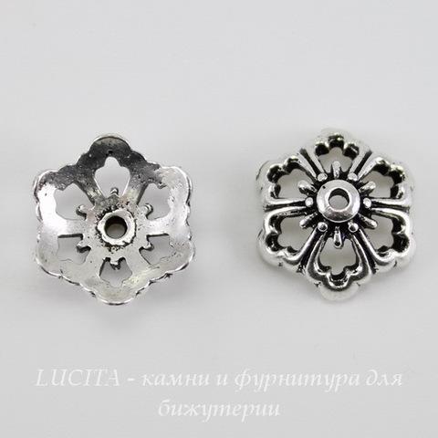 "Шапочка для бусины TierraCast ""Цветок"" (цвет-античное серебро) 12х5 мм"
