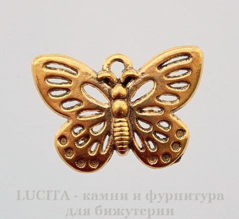 "Подвеска ""Бабочка"" (цвет - античное золото) 25х17 мм"