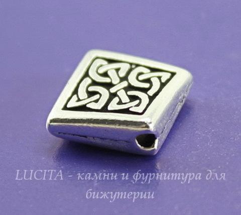 """Бусина ромб TierraCast """"Кельтская"""" 13х13 мм (цвет-античное серебро)"""