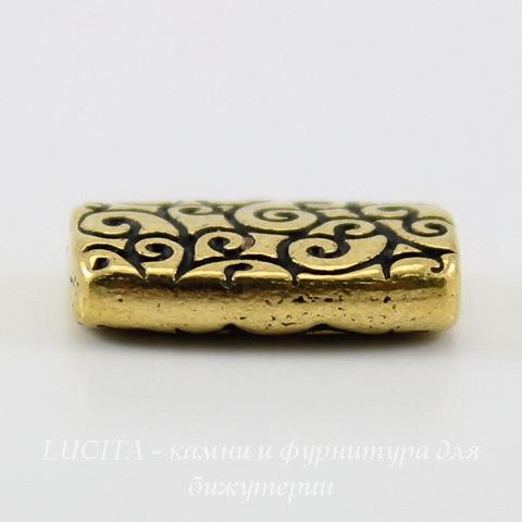 """Бусина прямоугольная TierraCast """"Завитки"""" 14х9х3 мм (цвет-античное золото) ()"""