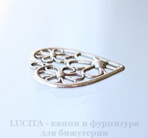 """Подвеска """"Цветы в сердце"""" (цвет - античное серебро) 29х29 мм"""