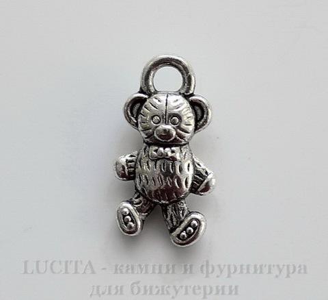 "Подвеска ""Мишка"" (цвет - античное серебро) 16х9 мм"